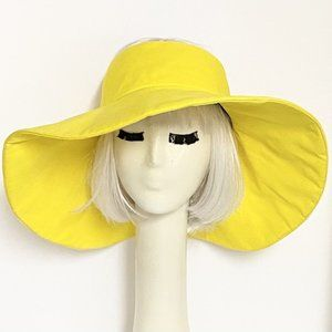 Yellow Wide Brim Sun Visor Hat